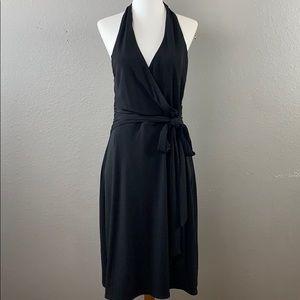Laundry by Shelli Segal black halter wrap dress